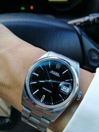 Original Rolex OysterDate 6694 Black dial silver hands 34 mm Classic watch LV Prada Gucci MK