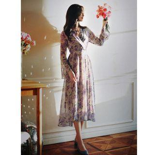 全新轉賣 原價2300 MILKCOCOA 正韓 浪漫典雅紫羅蘭玫瑰花洋裝