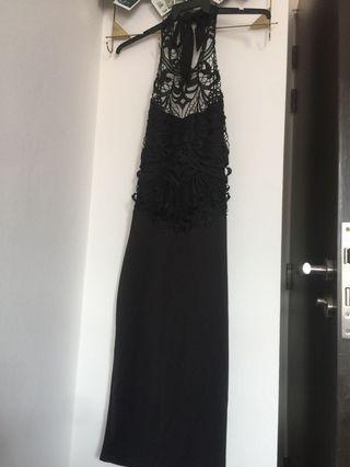 Halter Backless Lace Dress