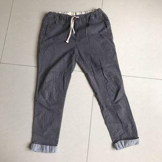 灰藍色七分褲
