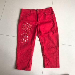 紅色彈性牛仔七分褲