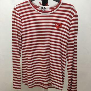 CDG play - long sleeve striped tee
