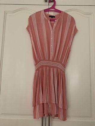Something borrowed pink stripe dress with soft garter waist