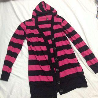 Black Pink Stripes Cardigan with hoodie