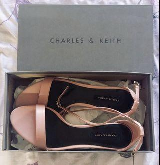 BN Charles & Keith Classic Ankle Strap Baby Pink Kitten Heels