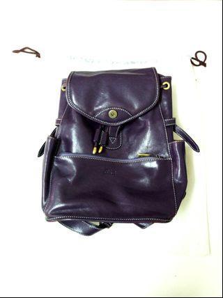 🚚 紫色牛皮背包 (細緻 時尚 真皮 內多袋 附防塵袋)