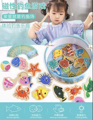 🚚 一岁半宝宝小猫钓鱼玩具儿童磁性鱼竿1-2-3男女孩早教益智玩具