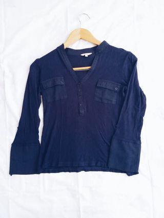 Cache Cache Navy Cotton Blouse