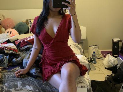 ALLY RED RUFFLE TRIM DRESS
