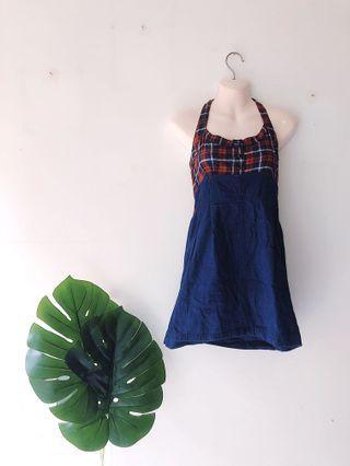 Chequered Halter Neck Dress