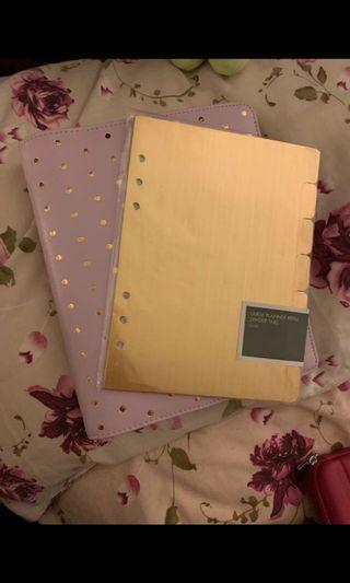 Kikki k lilac leather planner with extra gold dividers