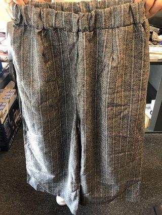 薄身直紋闊身褲