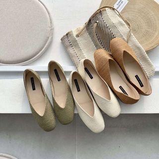 🚚 (現貨出清特價)Ruway. 正韓 文青V口編織娃娃鞋