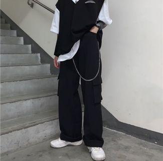 Black Streetwear Grunge Cargo Military Utility Pants