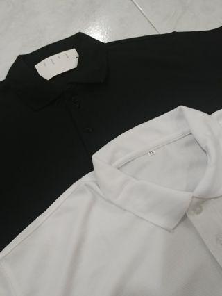 Black & White Polo Tee with personalized Embroidery