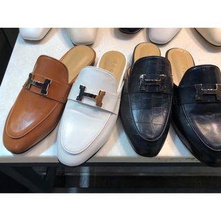 🚚 (現貨出清特價)Ruway. 正韓 H牌皮革穆勒鞋