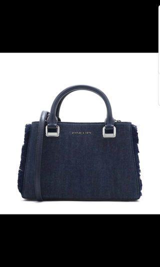 Charles and Keith Denim Blue Tote Sling Handbag