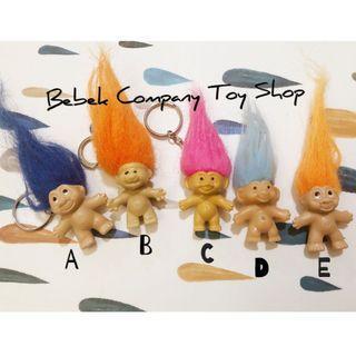 美國 1989年 RUSS/ DAM troll trolls 幸運小子 醜娃 巨魔娃娃 古董玩具 鑰匙圈 吊飾 筆套