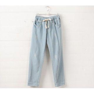 微破淺藍牛仔長褲