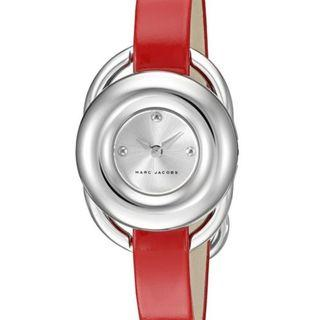 NEW Marc Jacobs MJ1444 Women's Jerrie Silver Dial Ladies Leather Watch (Red Leather Strap) New