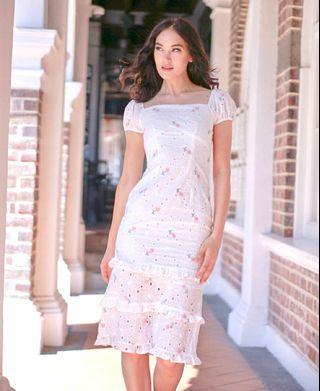 MDS Josna Ruffled Dress in pink/ yellow Arlin Lace-up