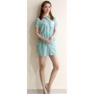 "MAHO'S SASSY ""JUST GET UP FROM BED"" MINI DRESS (Seafoam Green)"