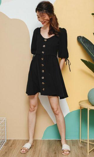 Button black dress