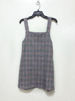 全新🌸外搭氣質復古可愛格紋粗肩短裙洋裝