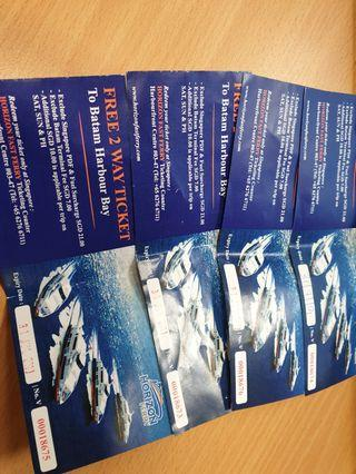 2 way ticket to batam harbour bay $20 - for 4 tix / $8 ea