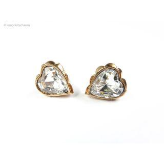 Vintage Avon Clear Jewel Heart Earrings, er1821-c