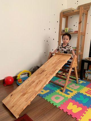 Montessori aligned Wooden Pikler Triangle (with Ramp)