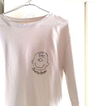 全新韓國東大門Charlie brown卡其色短版T恤