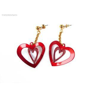 Vintage Avon 1992 Red Fun Heart Earrings, er1822-c