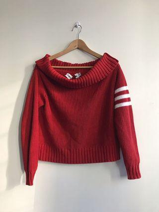 TWIIN Red Knit Stripe off Shoulder Jumper SZ S Dollskill
