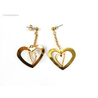 Vintage Avon Gold Fun Heart Earrings, er1822-c