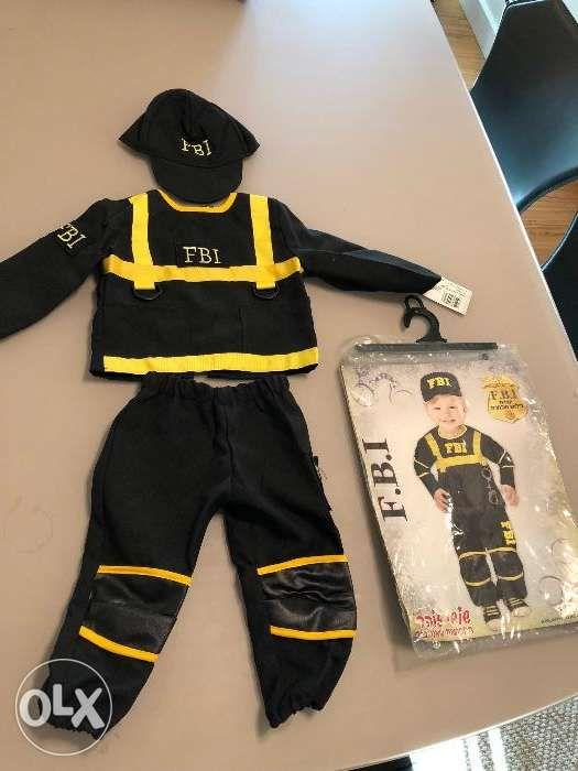Baby FBI Officer Costume Black 1Year Old
