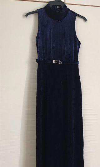 Navy blue velvet gown