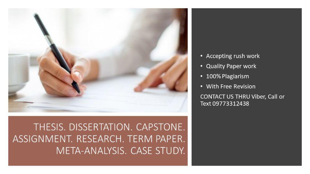 Thesis Research Assignment Report Capstone Dissertation Term Paper