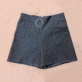 全新🌸時尚毛呢圓環拉鍊顯瘦性感短褲