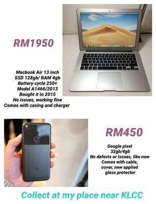 Google pixel and macbook for sale