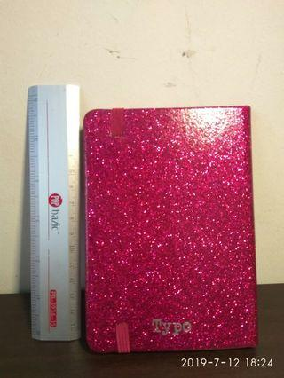 Typo pink glittering note book