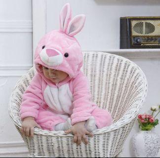 Baby Pink Bunny Onesie Kigurumi Pajama Sleepwear Jumpsuit
