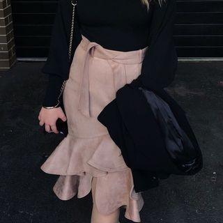 Suede ruffled skirt