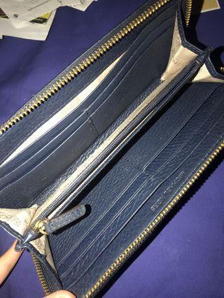 authentic michael kors long wallet - dark navy