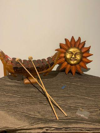 Wood Sun face wall plaque & Wood Xylophone
