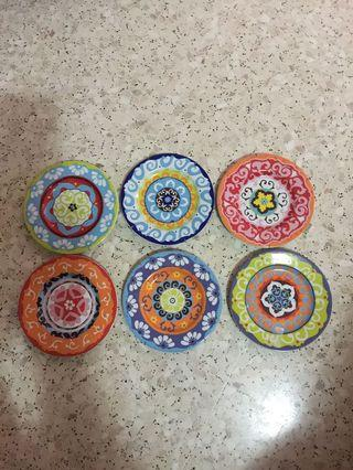 BN Set Of 6 Rose Tulipani mixed colors plates