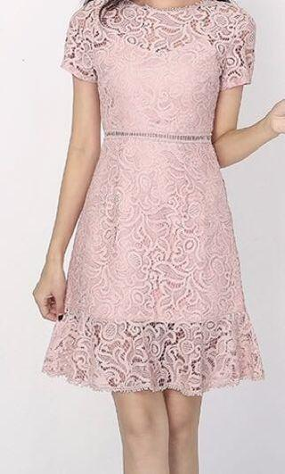 [Free normal postage] Pink Lace Dress