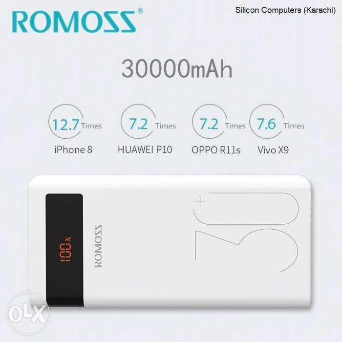 Romoss Sense 8P Plus 30000mAh Mobile Power Bank QC3 Fast