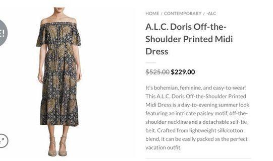 ALC off-Shoulder printed midi dress