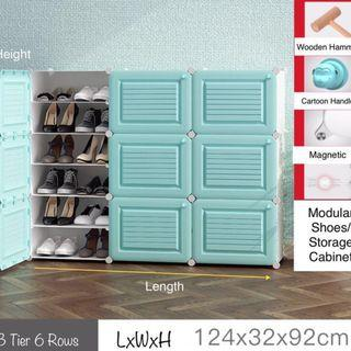 Brand New Durable Modular Cube Shoes Cabinet 3 Tier 6 Row